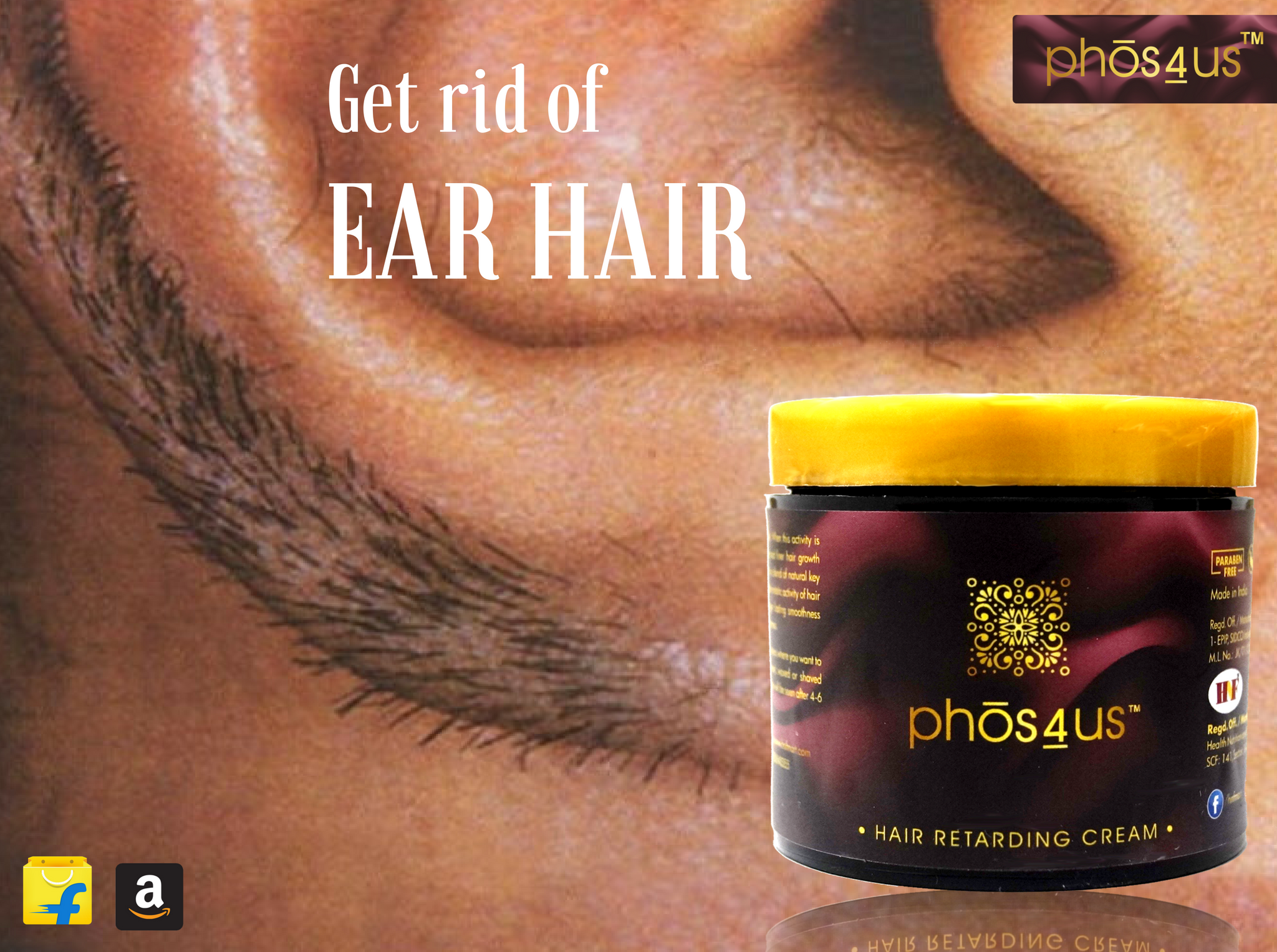 Get rid of Ear hair with #phos4us hair retarding cream and ...