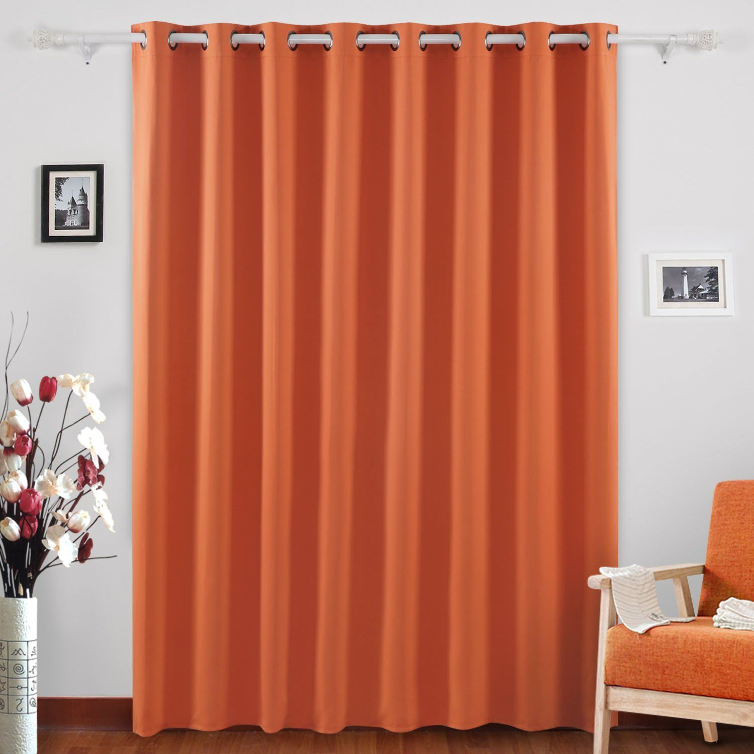 Bedrooms Deconovo Grommet Top Window Curtains Room Darkening Wide Orange
