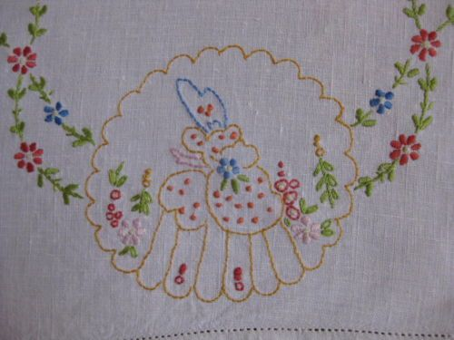 "Beautiful Vintage hand Embroidered linen Tray Cloth"" Crinoline lady"""