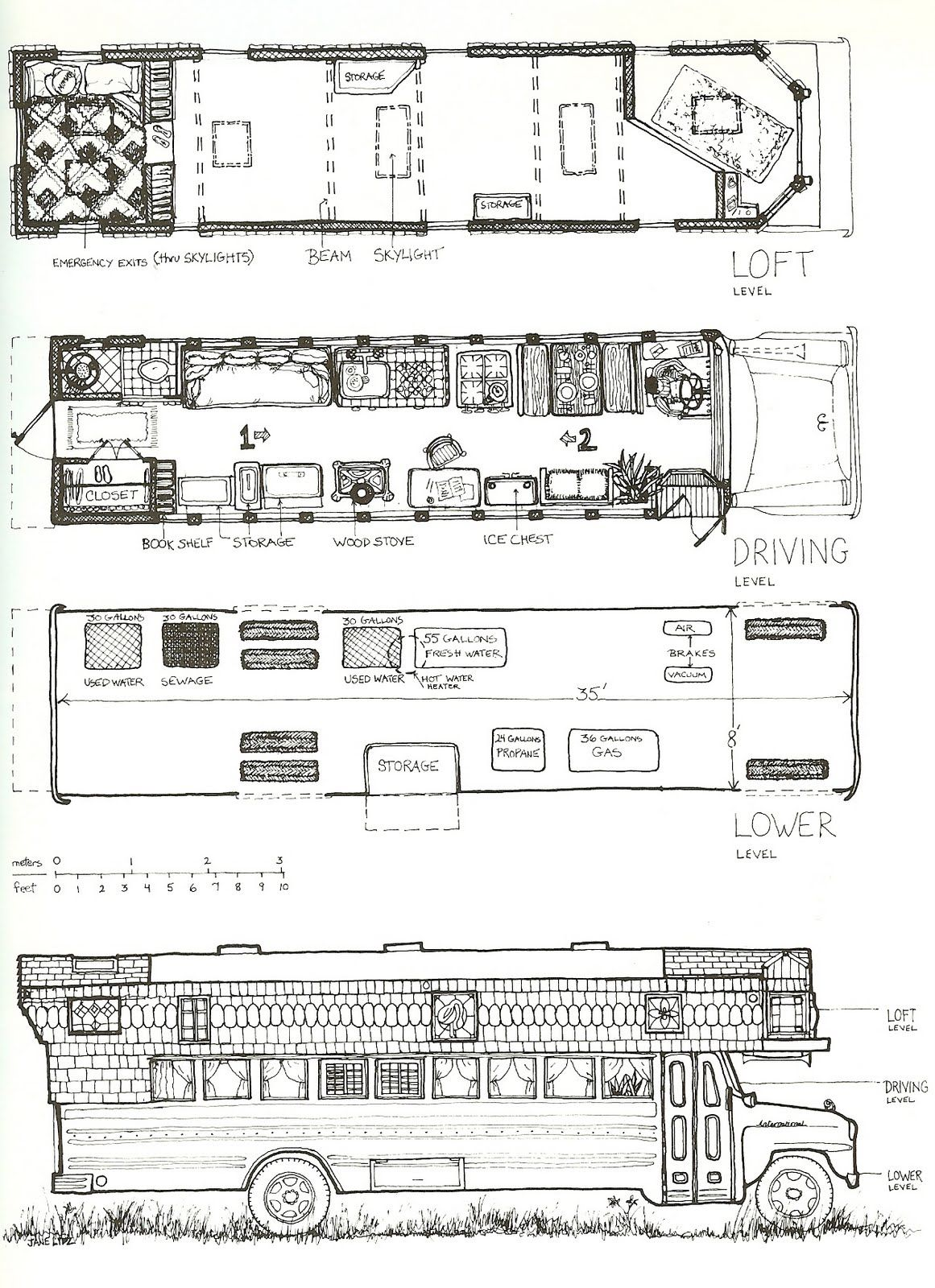 bus layout sketch travel in style school bus house bus house school bus camper. Black Bedroom Furniture Sets. Home Design Ideas