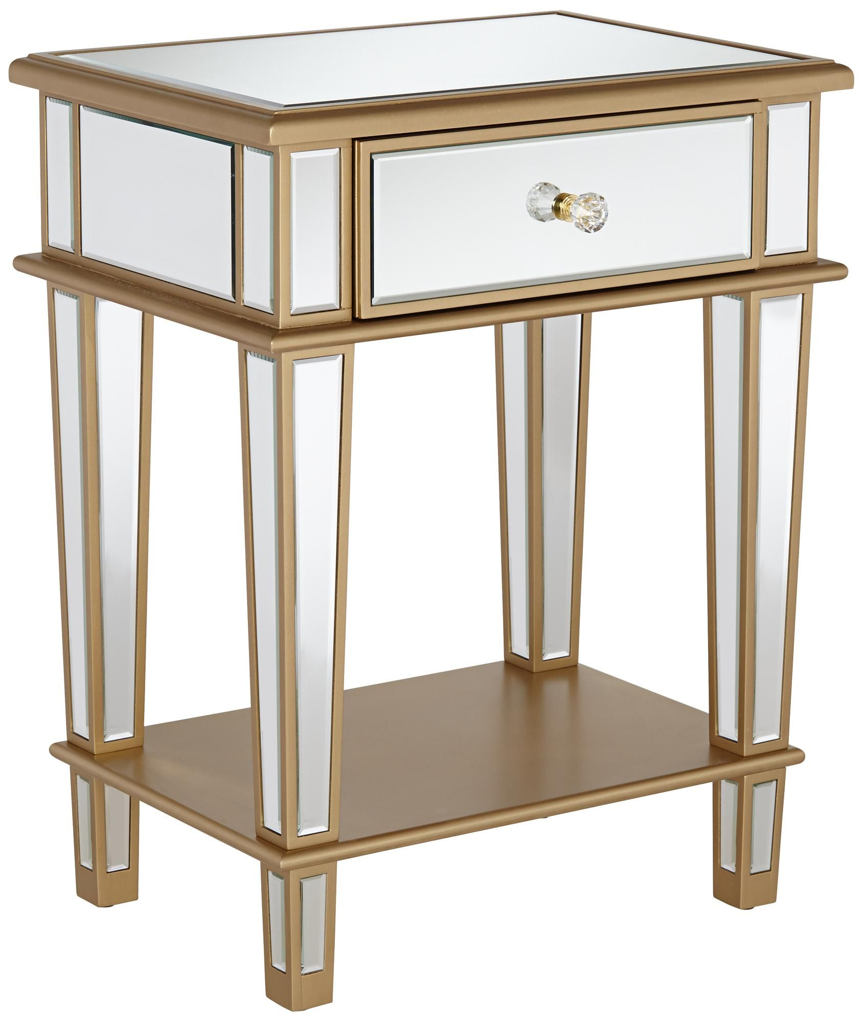 joslyn 1 drawer gold mirrored end table apartment accessories mirrored end table end tables. Black Bedroom Furniture Sets. Home Design Ideas