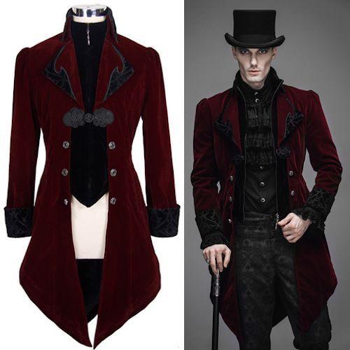 Burgundy Velvet Double Breasted Victorian Gothic Dress Trench Coat Men SKU 11401104