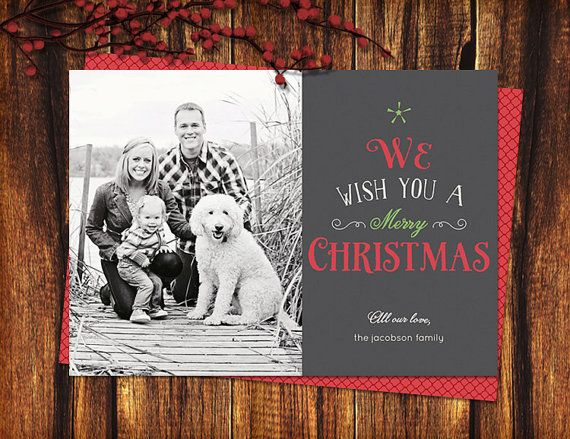 Christmas Photo Card Typographic Tree 4x6 or 5x7 by seedtosprout