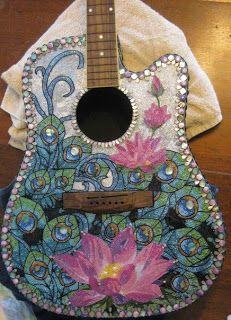 pretty beaded guitar mosaic mosaics 5 mosaic art mosaic guitar painting. Black Bedroom Furniture Sets. Home Design Ideas