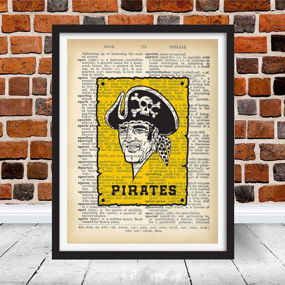 Vintage pittsburgh pirates retro logo dictionary wall art home decor