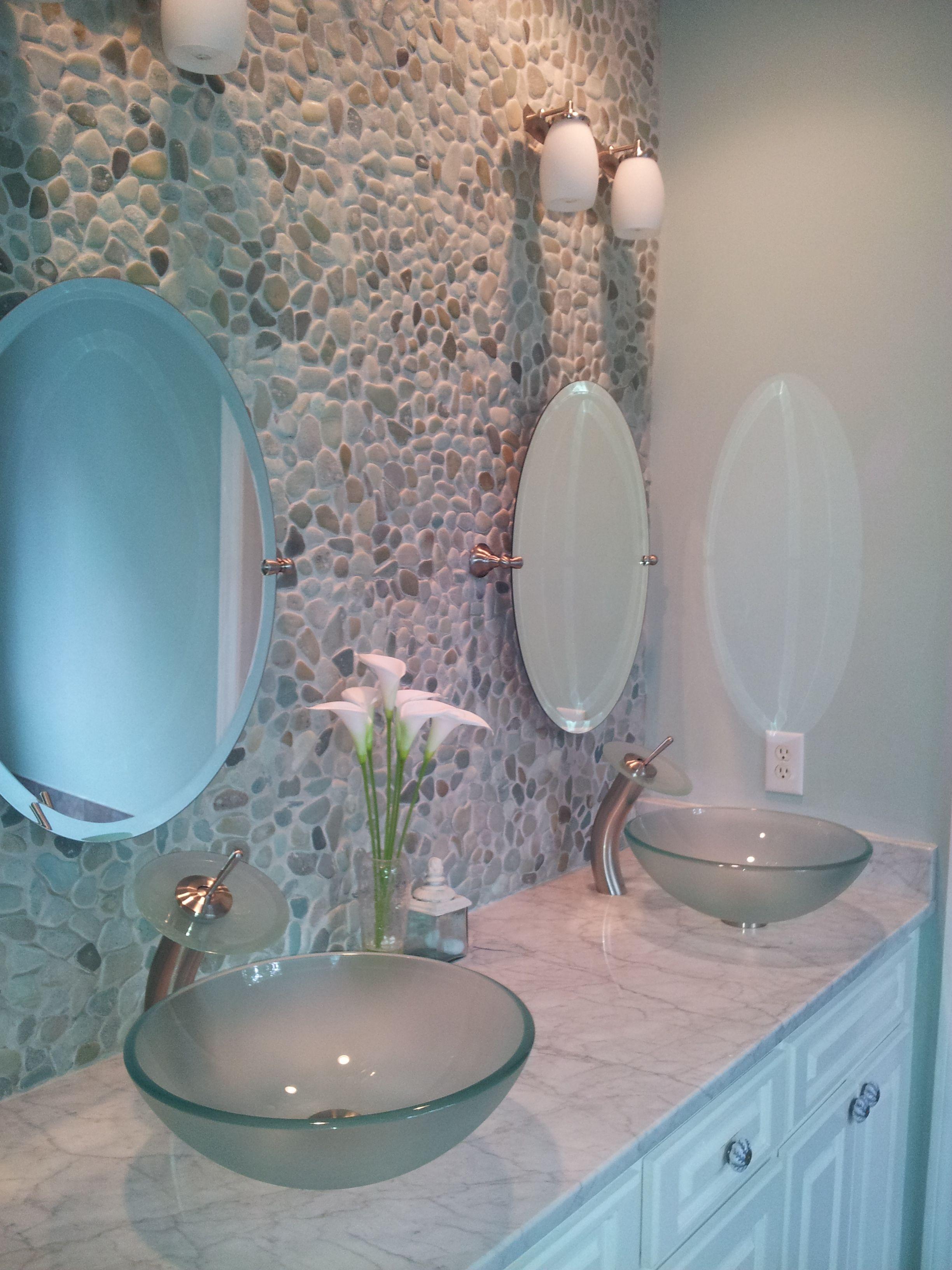Master bath vessel sinks bathroom diy pebblestone wall for Master bathroom vessel sink