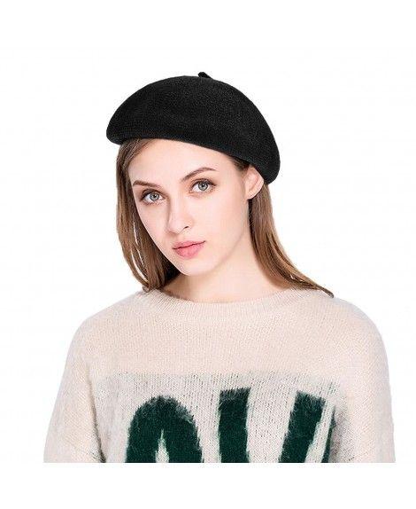 de62780df2927 Winter Beret Hat Woolen Beanie Cap Classic French Beret Hat For Women -  Black