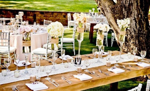 Vintage Hochzeit Draussen Ideen Deko Spitze Tafel Tischlaufer