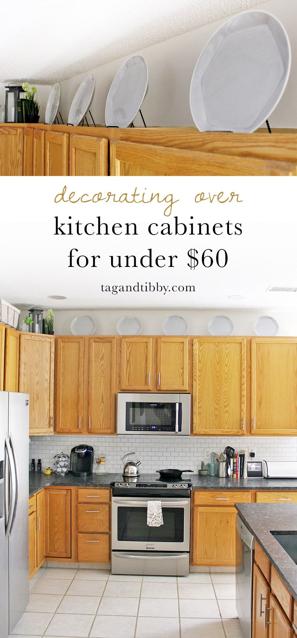Decorating Over Kitchen Cabinets For Under 60 Tag Tibby Design Interior Design Rustic Above Kitchen Cabinets Decorating Above Kitchen Cabinets