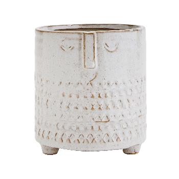 Madam Stoltz Large Off White Flowerpot with Face Imprint   - Trouva