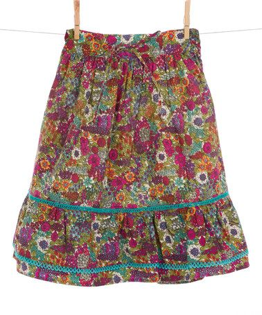 Another great find on #zulily! Purple & Turquoise Floral Skirt - Toddler & Girls #zulilyfinds