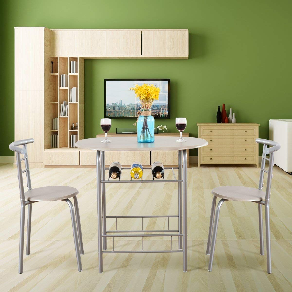 Beech Giantex 3 Piece Dining Set Compact 2 Chairs and Table Set with Metal Frame and Shelf Storage Bistro Pub Breakfast Space Saving for Apartment and Kitchen
