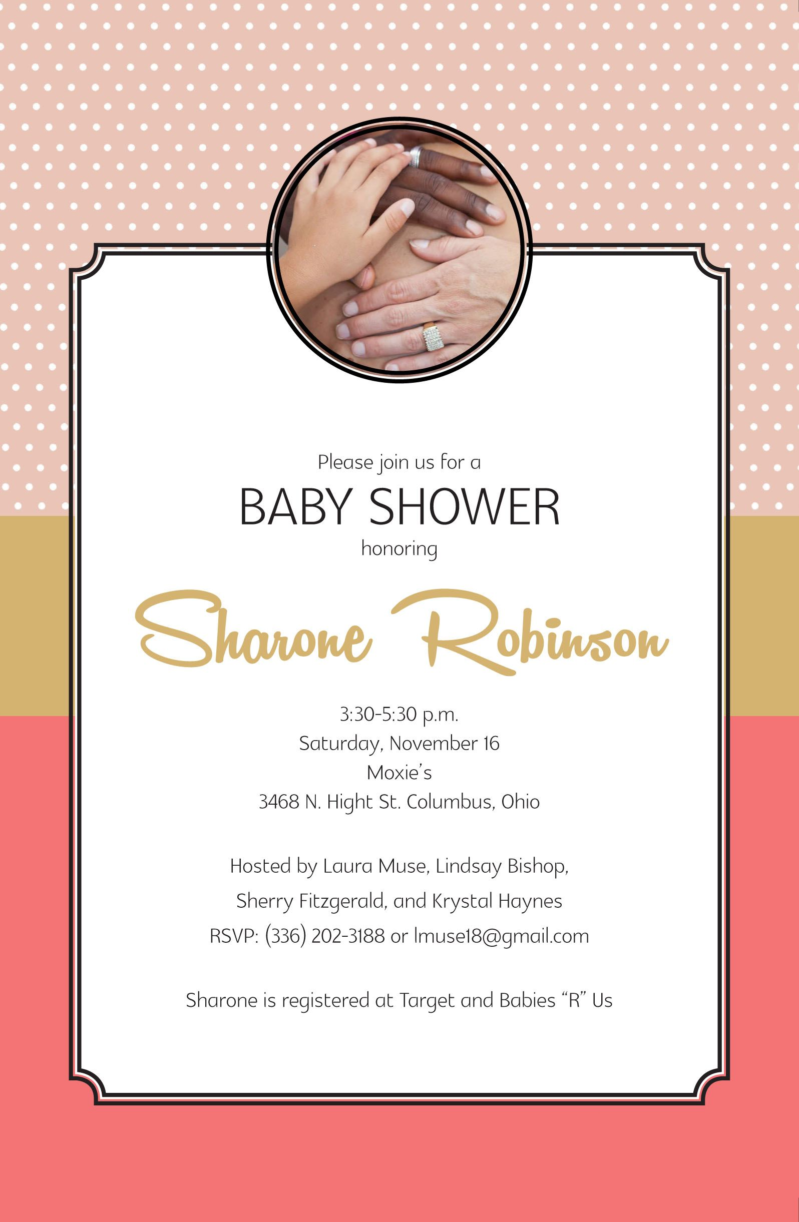 Personalized baby shower invitation.