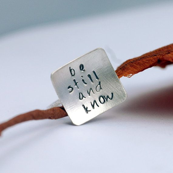 Hand Stamped Silver Ring - Square Ring - Be Still and Know - Custom Personalized - Bible Verse or Quote by @Lisa Lehmann
