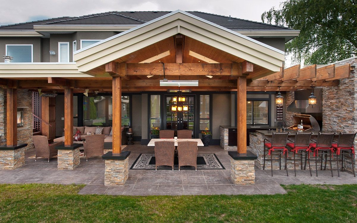 Outdoor kitchen designs with roofs of outdoor kitchen for Plans for outside kitchen