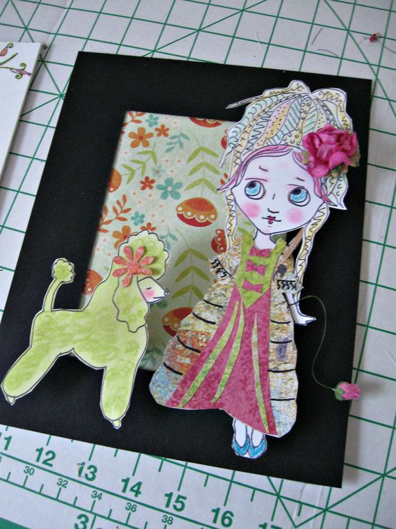 Original Paper Doll Art - Big Eyed Marie Antoinette Mixed Media Pop Art Assemblage - Antoinette #1