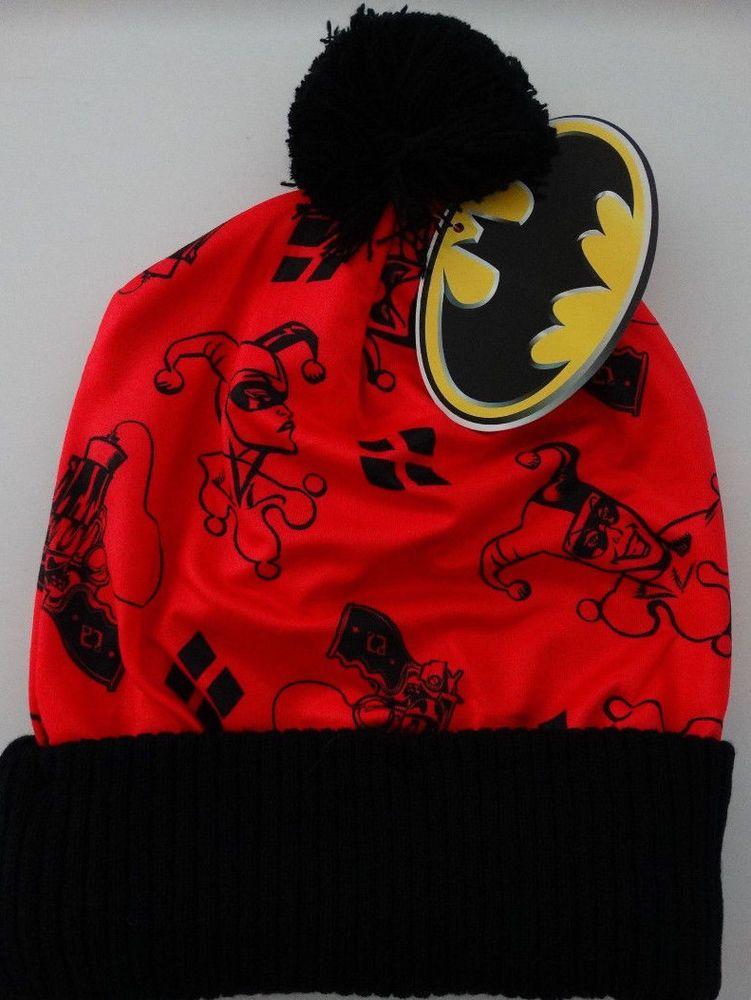 84d201a90c4 Harley Quinn Logo Batman Dc Comics Pom Knit Cuff Beanie Hat Nwt   HarleyQuinnBatman  Beanie