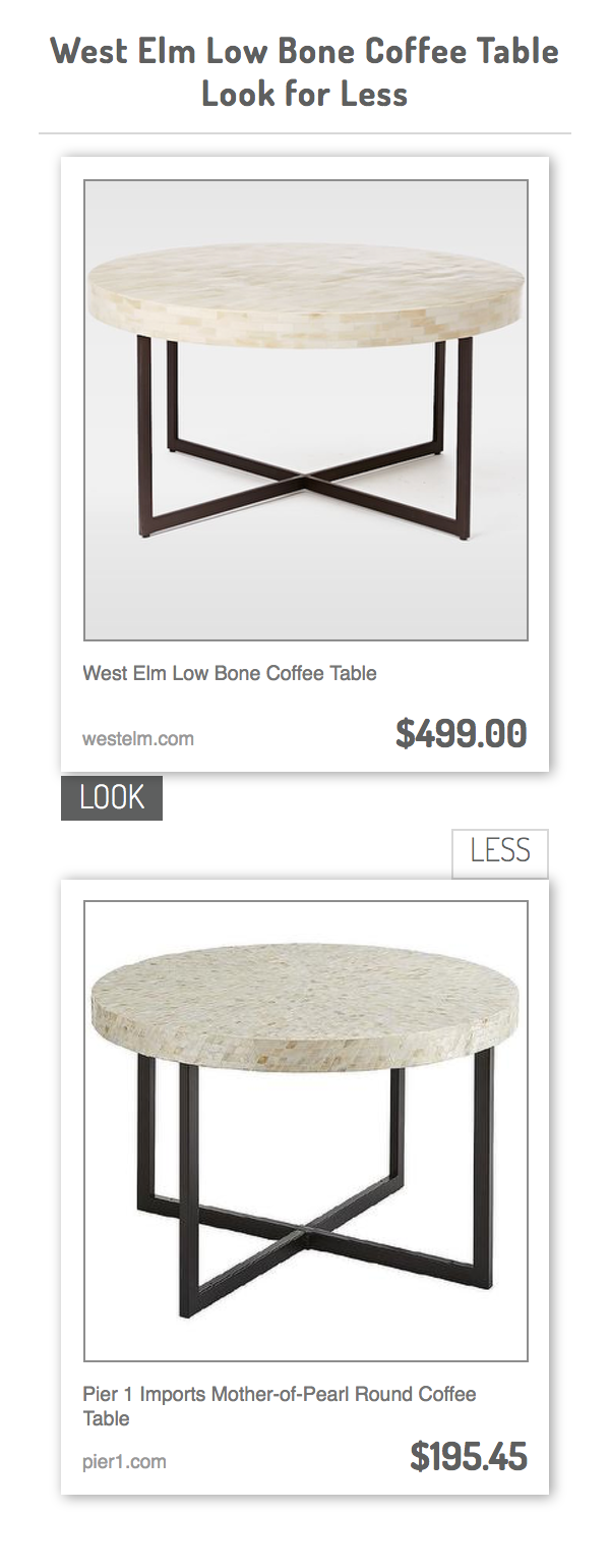 West Elm Low Bone Coffee Table Vs Pier 1 Imports Mother Of Pearl