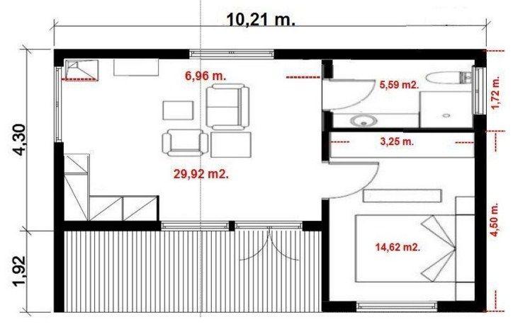 Plano De Casa Sencilla De 6 X 10 M Planos Para Casas