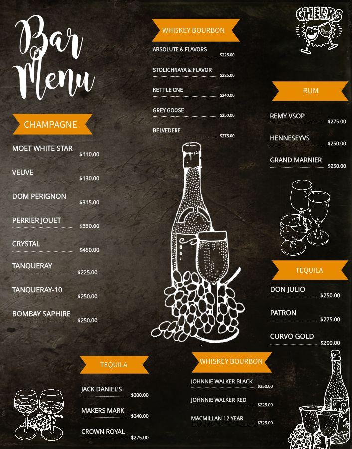 bar menu board design template  click to customize