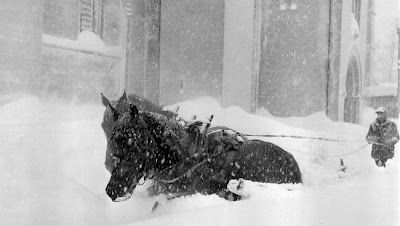 The horses that pull snowplow struggling in heavy snow outside Vår Frue kirke - Our ​​Lady's Church - in Trondheim, Norway, 1958
