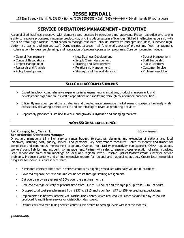 example service operations manager resume free sample format - logistics manager resume