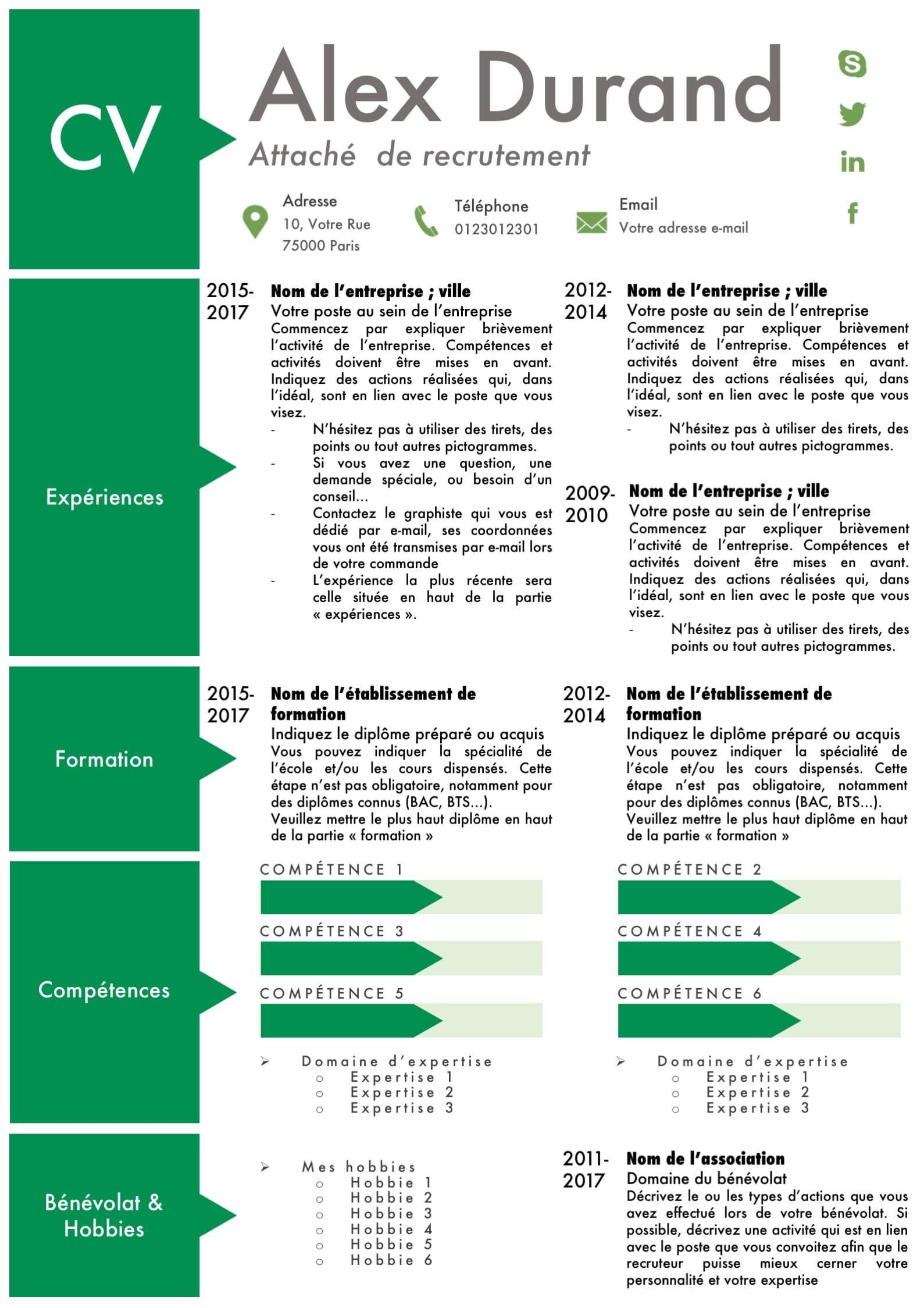 cv vert avec des pictogrammes et des compartiments pour structurer les exp u00e9riences  beau cv  u00e0