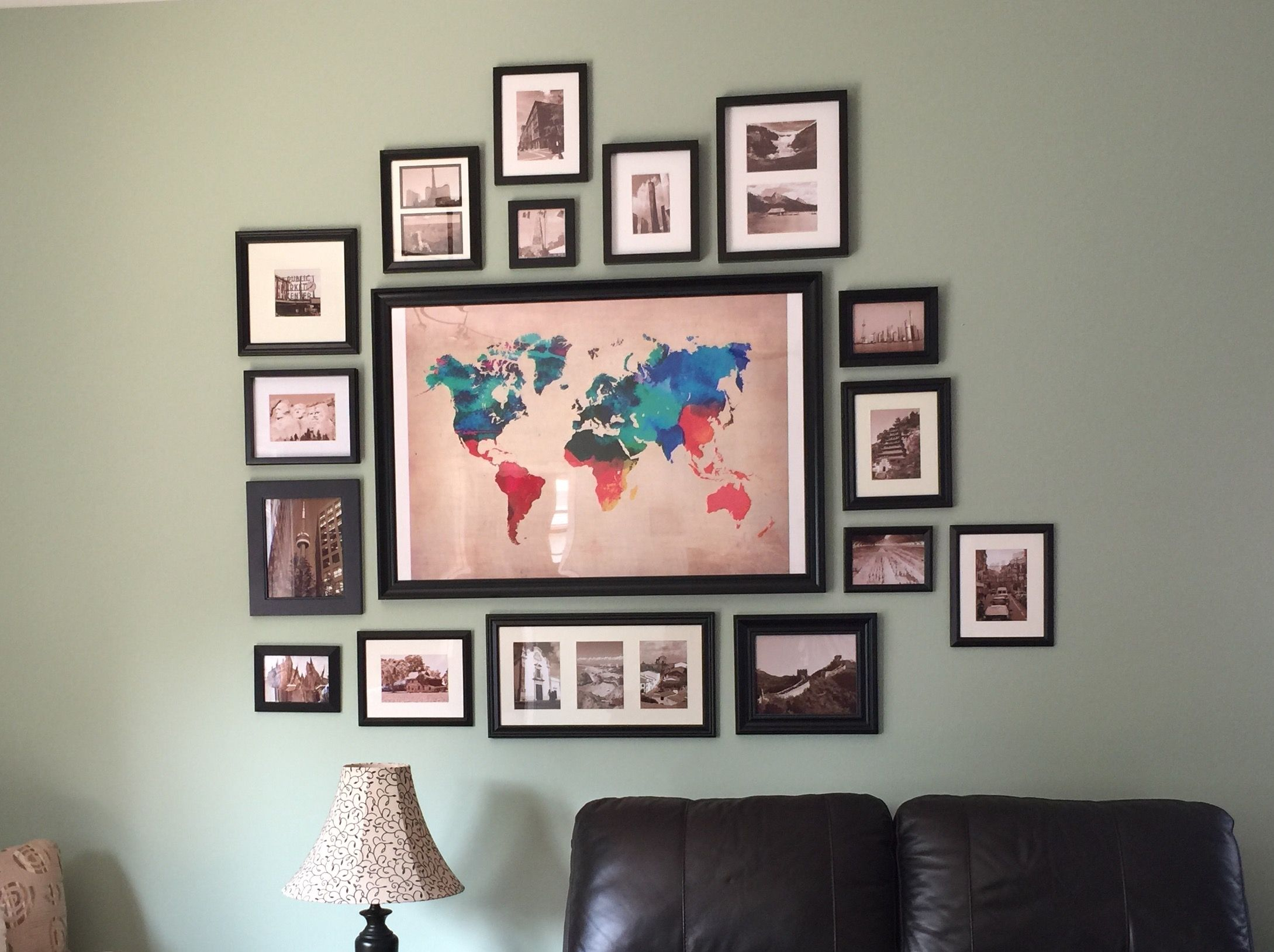Our Wall Collage Thanks Pinterest I Had Been Trying To Find Something For This A Bedroom Decor Above Bed Living Room Gallery