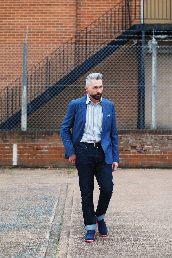Over 40 menswear: Blue linen blazer, jeans, derby shoes #silver ...