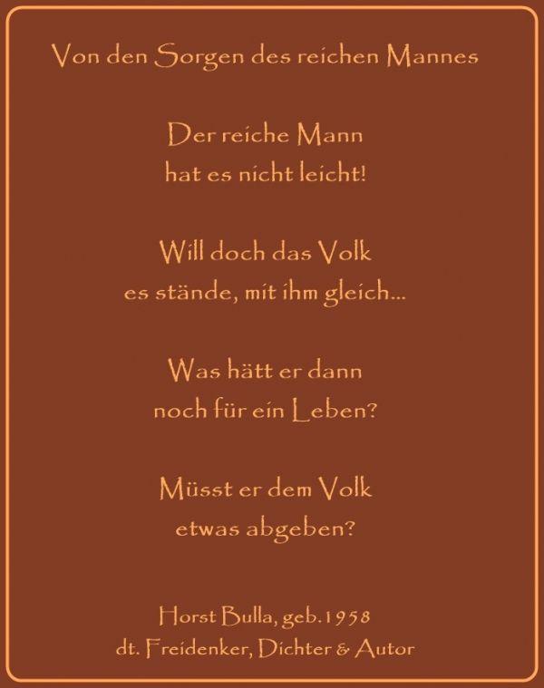 Bildgedicht Von Den Sorgen Des Reichen Mannes Gedicht Von