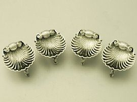 A very good and impressive set of four antique Victorian English sterling silver salts