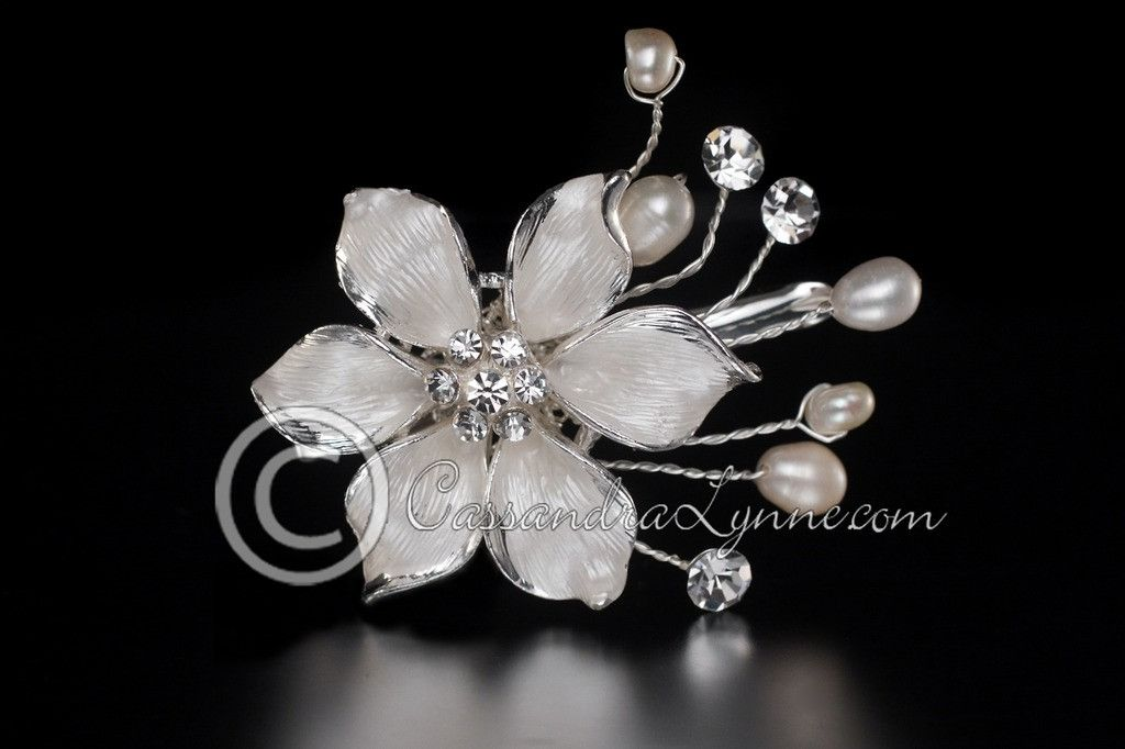 Wedding Hair Clip of a Frosted Flower & Pearls