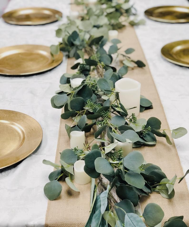 58 inch Long Quality Artificial lush green silver dollar seeded eucalyptus garland Table Centerpiece Arch Decoration