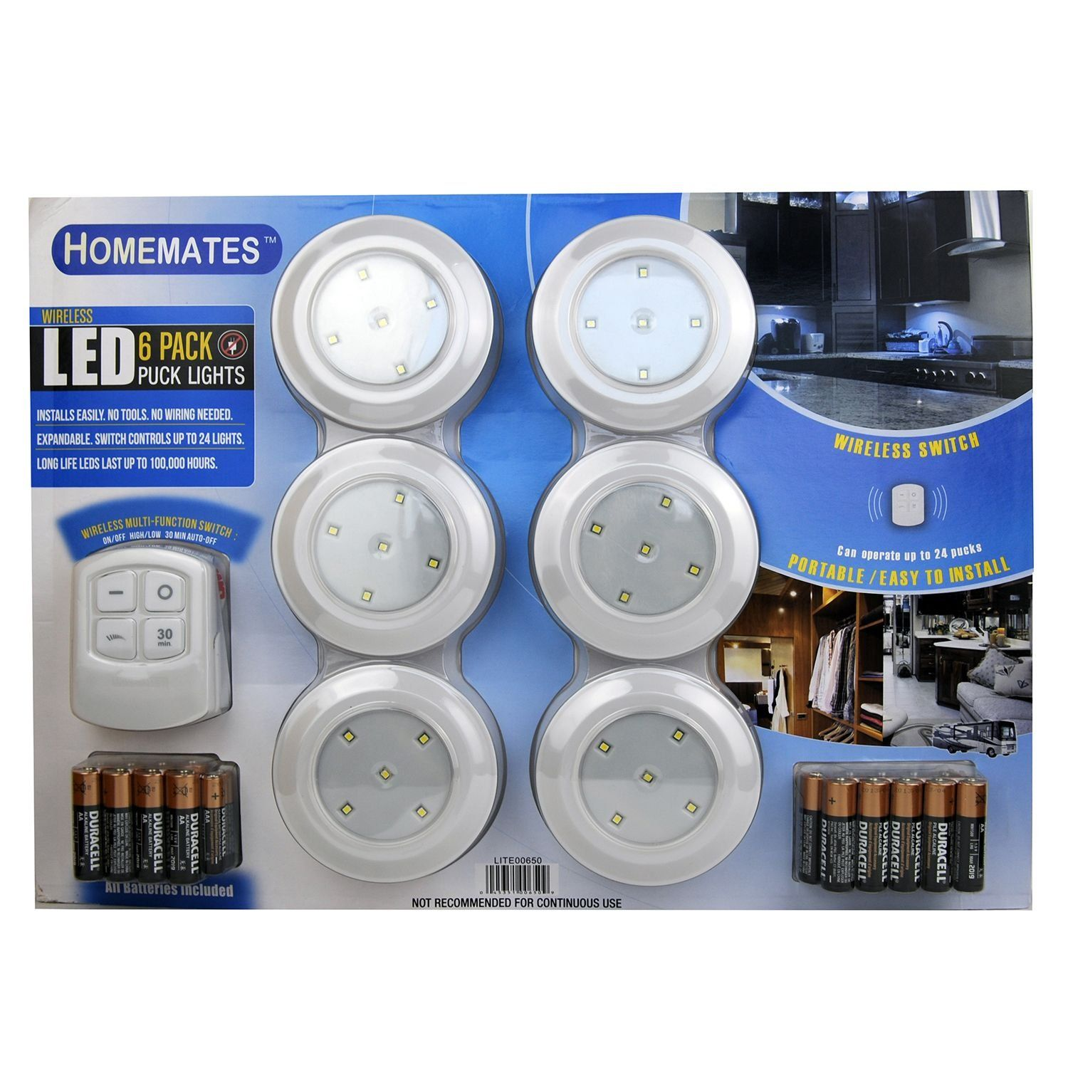 Homemates led wireless puck lights with remote 6 pk battery homemates led wireless puck lights with remote 6 pk battery operated aloadofball Image collections