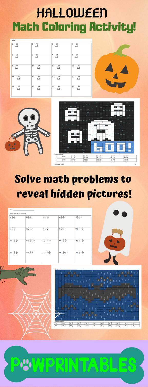 2 Fun Halloween Math Activities Your Students Will Enjoy Solving 20 Math Problems To Reveal A Hidd Halloween Math Halloween Math Activities Fun Halloween Math [ 1500 x 577 Pixel ]