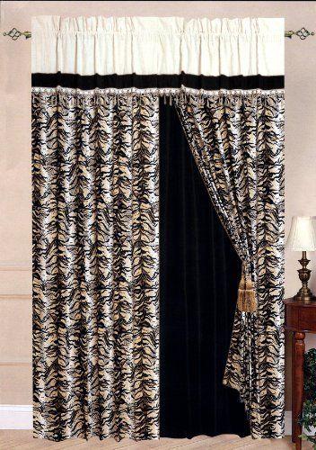New Micro Suede Tiger Skin Window Curtain Panelvalance Set Black