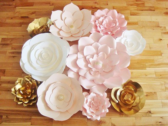 Paper Flower Wall Paper Flower Wedding Pink White Gold Set Of
