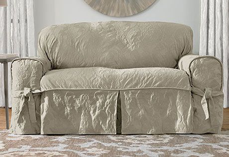 Matelasse Damask One Piece Loveseat Slipcover Happy At Home