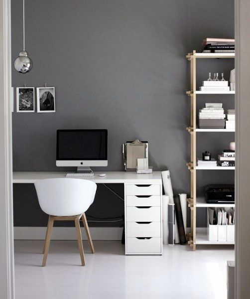 Grey Walls With White Desk Male Small Home Office Ideas More