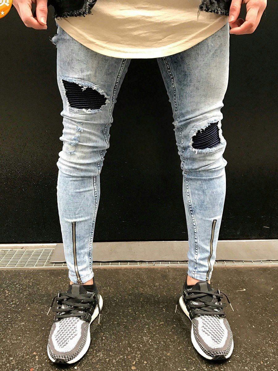Pantalones Vaqueros para Hombre con Huecos  ce888292c06