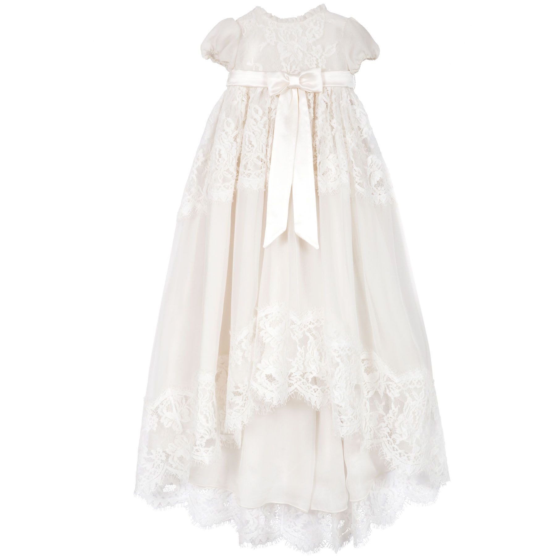 Fully lined ivory christening dress made of silk and cotton blend