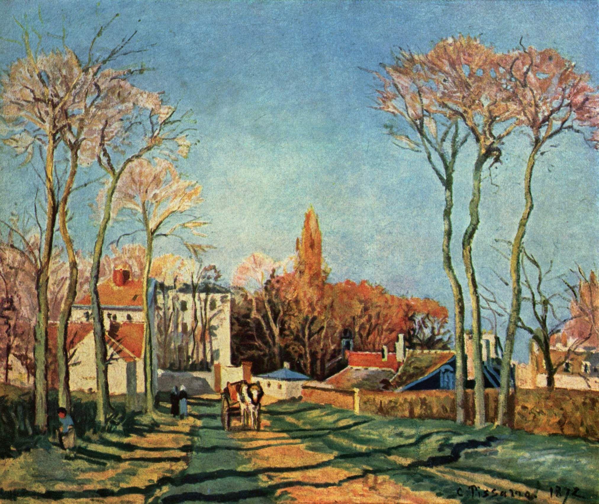 Camille Pissarro, Entrata del villaggio di Voisins, olio su tela, 1872.