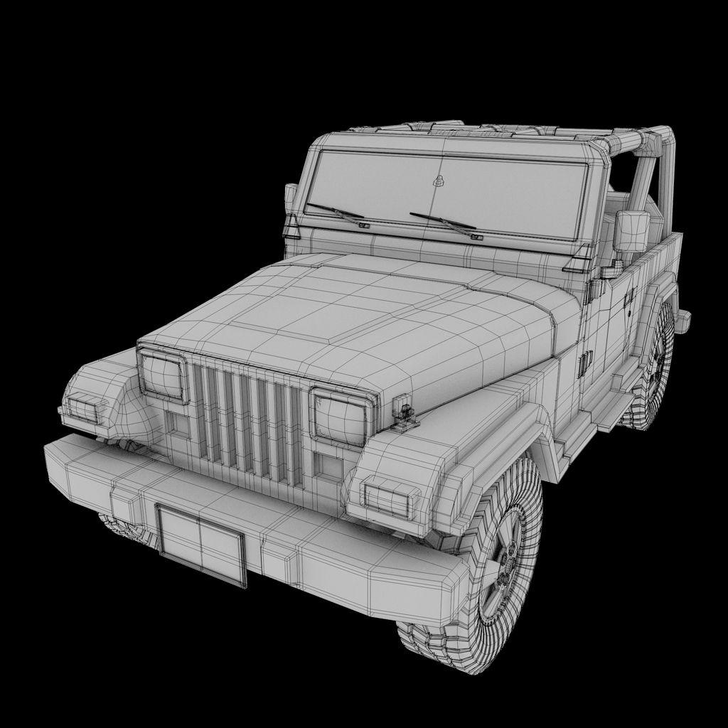 Jeep Wireframe Blender 3D Model 3d model, Model, Jeep