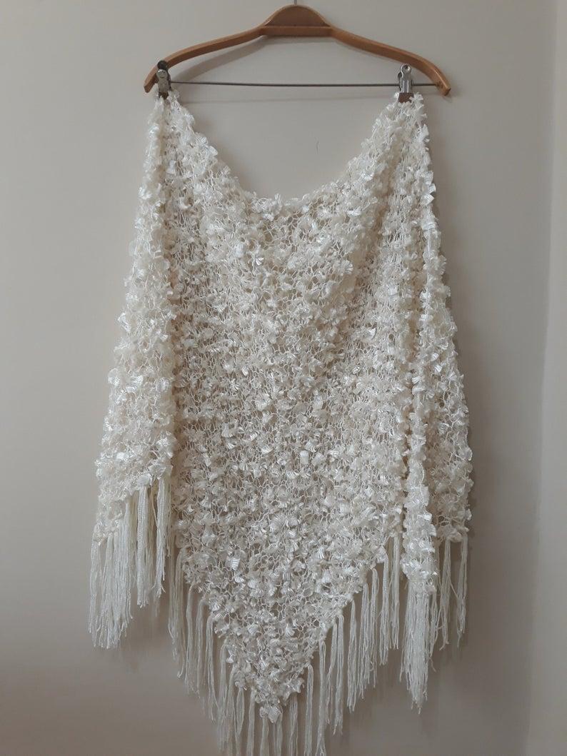 Hand-knit Triangle shawl/ Ivory Wedding Shawl / Loose knit large luxury scarf