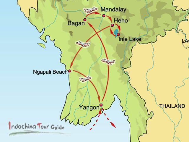 Carte Birmanie Lonely Planet.8 Days Leisure Myanmar Tour With Ngapali Beach Myanmar