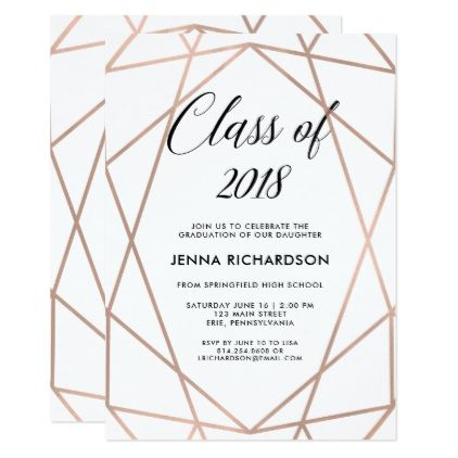 Faux rose gold geometric on white graduation party invitation faux rose gold geometric on white graduation party card graduation party invitations card cards cyo stopboris Choice Image