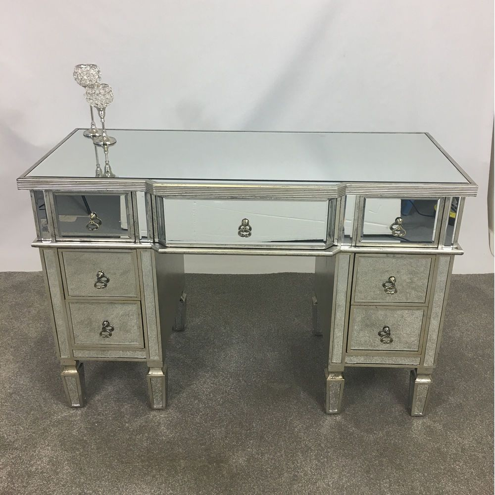 new styles 62881 02b22 Venetian Glass Antique Silver Mirrored 7 Drawer Dressing ...
