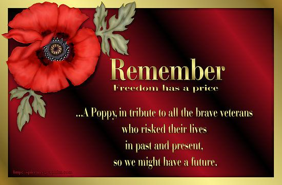 Remember Veterans Poppy By Spicetree Veterans Day Quotes Red