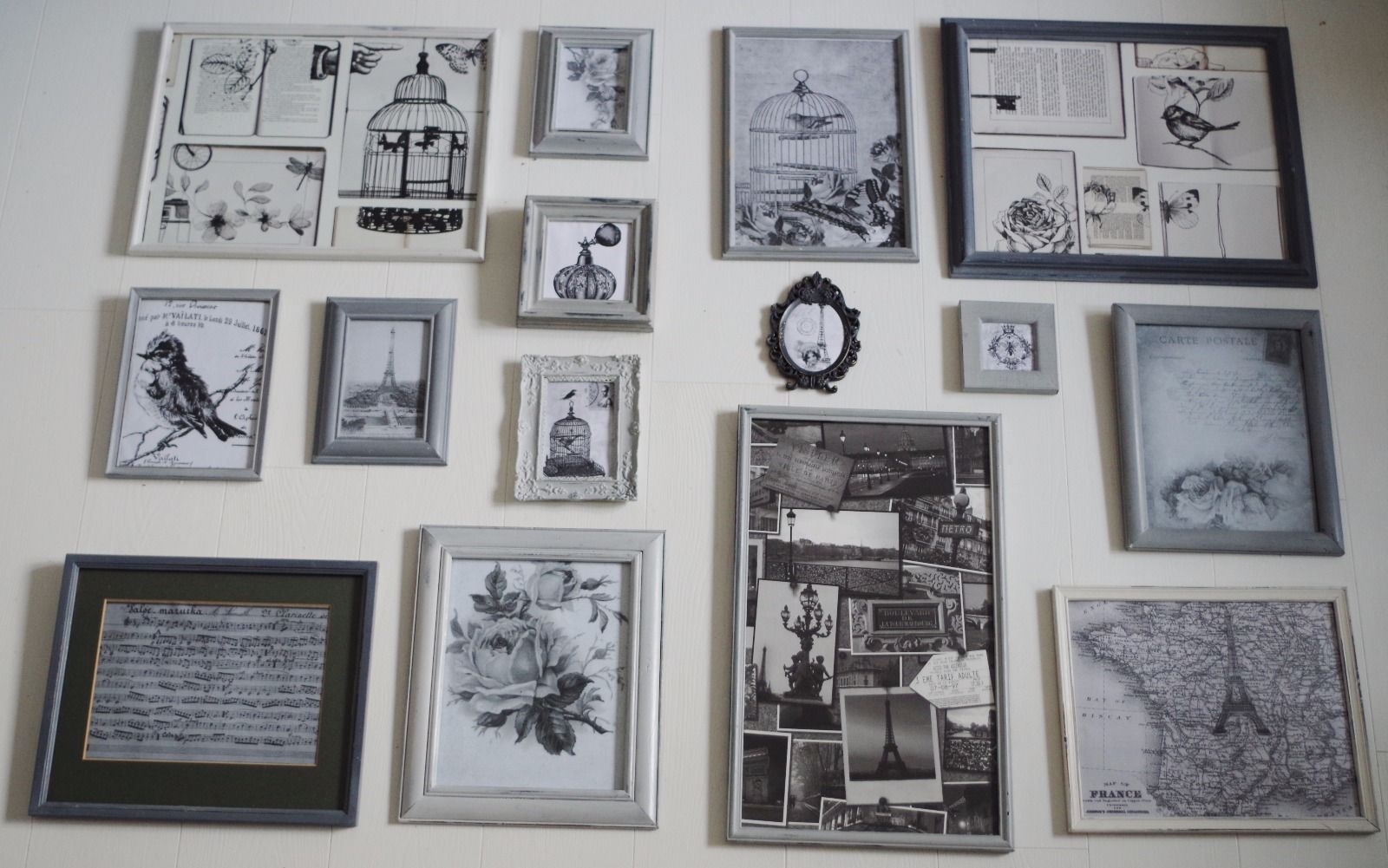 Shabby chic picture frames 15 shades of grey feature wall black shabby chic picture frames 15 shades of grey feature wall black white images jeuxipadfo Images