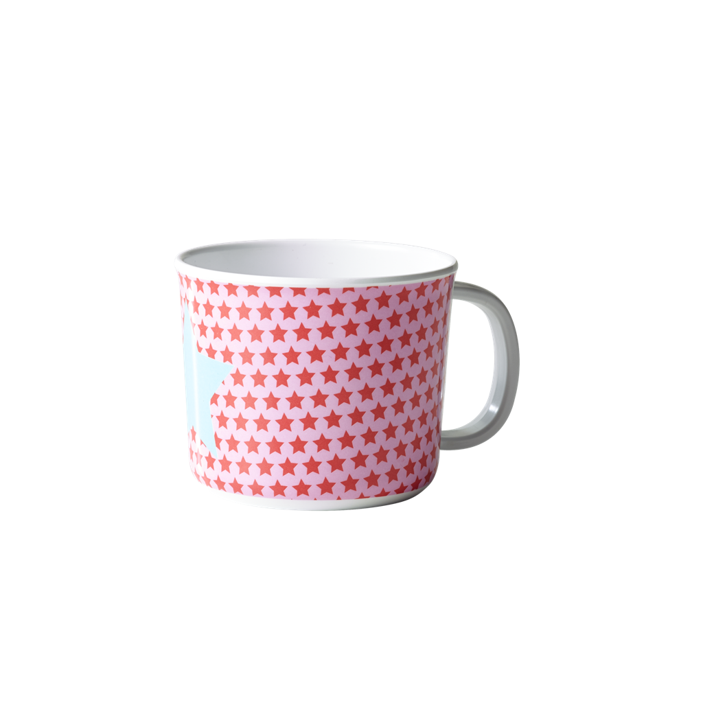 Baby melamine cup with handle pink star print Rice DK